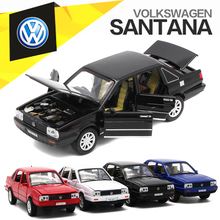 1:32 VW Santana Diecast Model, Metal Car For Boy Kids Present With Pull Back Function/Music/Light/Openable Doors