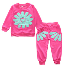 2017 New Sale Full Baby Clothing Set Long Sleeve Sunflower Sportswear Girl Hoodies + Pants Children's Outfits Kids Tracksuits