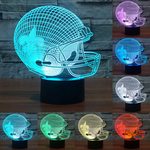 3D NFL Visual Sport Cap Helmet New Orleans Saints Team Night Multicolored acrylic Table Light Lamp touch switch lamp IY803682