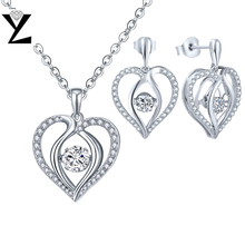 YL Heart Natural Topaz 925 Sterling Silver Jewelry Sets for Women Fine Jewelry with Dancing Topaz Stone Wedding Earring Necklace(China)