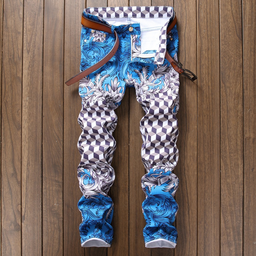 2017 New Printing Casual Men Jeans Hip Hop Classic Rock Rap Slim Elastic Thin European Design Blue Pants Cotton Long TrousersÎäåæäà è àêñåññóàðû<br><br>