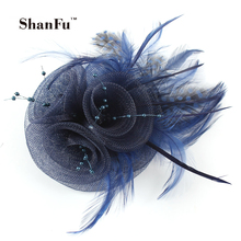 ShanFu Women Vintage Mesh Fascinators Dot Feather Brooch Charming Beaded Bridal Fasciantor White for Wedding Tea Party SFB6439(China)
