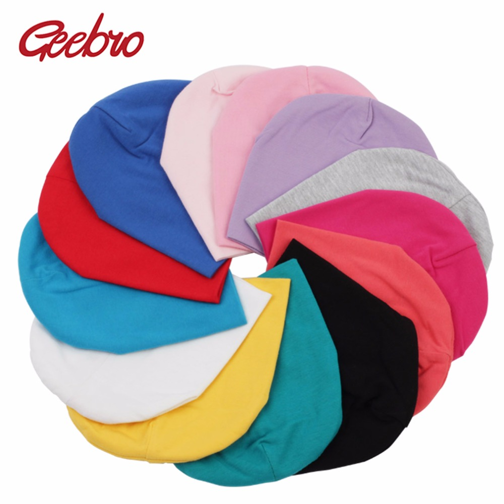 Geebro New Arrivals Baby Beanie Hat Fall Casual Solid Cotton Beanie Candy Color Boy Girl Plain Caps Newborn Baby Beanies DQ011(China (Mainland))