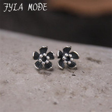 Fyla Mode Real 925 Sterling Silver Earrings Vintage Thai Daisy Flower Pure Handmade Bangkok Silver Jewellery Boutique 8.50mm