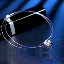 2017 NEW shiny zircon silver chain necklaces pendants fashion jewelry chockers diffuser Invisible necklaces fro Women