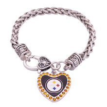 Rugby Crystal Heart Charm Bracelet For Sports Lovers Brand Super Bowl Champion Bracelet Jewelry