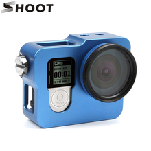 SHOOT Aluminum Alloy Rugged Cage Protective Case for GoPro Hero 4 Sliver Black Camera With Go Pro 4 UV Lens Cap GoPro Accessory