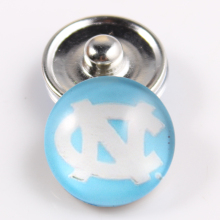 10PCS North Carolina Tar Heels 18mm Glass Snap Button Fit Ginger Snap Bracelet Bangles NCAA Football Baseball Series Jewelry