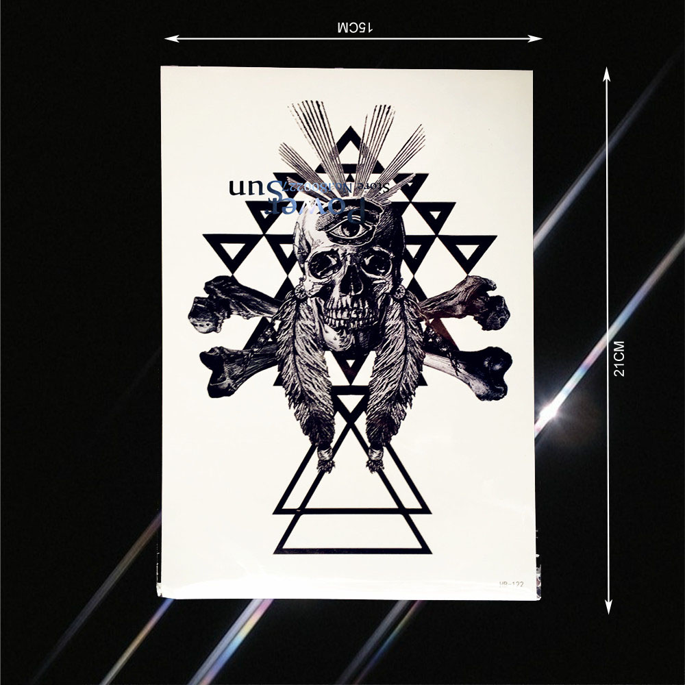 Spray Geometry Skull Eyes Bone Feather Tattoo For Men Women Body Arm Art Fake Tatoo Waterproof Temporary Tattoo Stickers PHB-122(China)