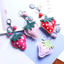 24PCS/LOT Leather Strawberry Bag CHAINS Cute Pompoms Keyring Pom Bag Car Pendant Key Ring Birthday gifs Girl