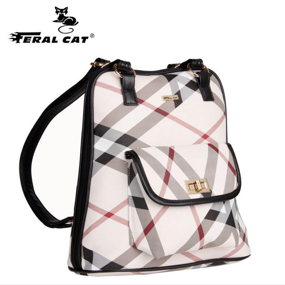 Feral cat Women Backpack Leather Backpacks Softback Bags Brand Name Bag Preppy Style Bag Casual Backpacks Teenagers Backpack Sac<br>