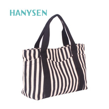 European And American Fashion Women Striped Canvas Bag Large Mommy Bag Casual Tote Shoulder Shopping Bags Bolsa Feminina 2047(China)