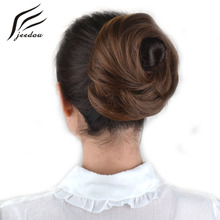 jeedou Natural Hair Chignon Synthetic Hair Donut Two Plastic Comb Easy Fast Bun Coque Cabelo Brown Hairpiece Hair Bun Pad(China)