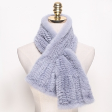 Hot Woman Fur Scarf Knitting Real Mink Fur Wrap Winter Collar Mink Fur Scarves
