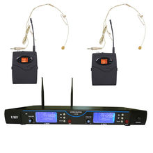 Original UHF 2*100 channel optional professional Infrared paring waist hanging wireless microphone system headset conference Mic(China)
