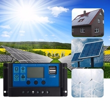 PWM 10/20/30A Dual USB Solar Panel Battery Regulator Charge Controller 12/24V LCD A18_15