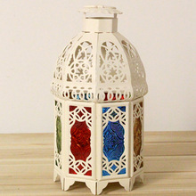 Hot Sale Decorative Candle Lanterns Vintage Black Metal Candle Holder Stand Glass Lanterns Wedding Decoration Home Lantern