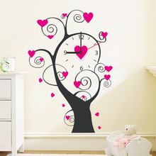 % pink love flower tree Needle Quartz clock Wall Clock Digit Number Wall Sticker DIY living room bedroom coffee shop wall decals(China)