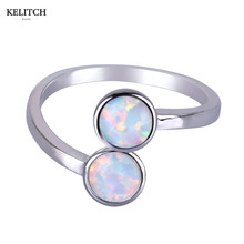 KELITCH Brand 1PC Unique Design White Fire Opal Stone Rings Simple Double Round Cute Bead Opal Rings For Elegant Women's Gift