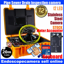 20M waterproof meter accounter Snake UnderWater Sewer Drain Pipe Wall Inspection keyboard recorder camera