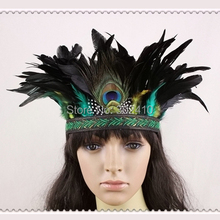 Free Shipping !!! Indiana Style Fashion Feather Hairband, Black&Green Hair Accessories Performance Items