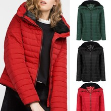 2016 New Fashion Winter Women Jackets And Coats Casual Quilted Cotton Padded Thick Hooded Front Zipper Ladies Winter Coat Femme