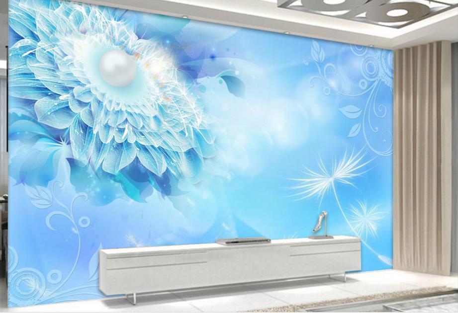 custom wallpaper for walls 3 d  for living room Blue Dream Pearl stereoscopic TV backdrop 3d wall murals wallpaper<br><br>Aliexpress