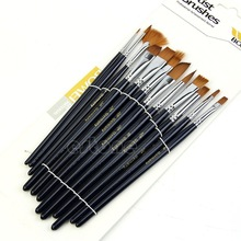 12Pcs/set Acrylic Art Craft Artist Oil Watercolor Painting Paint Brush