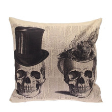 2016 Punk Style Lovely Skull Decorative Cushion Cover Cotton Linen Pillow Cover Pillow Case Square Throw Pillow Car Covers