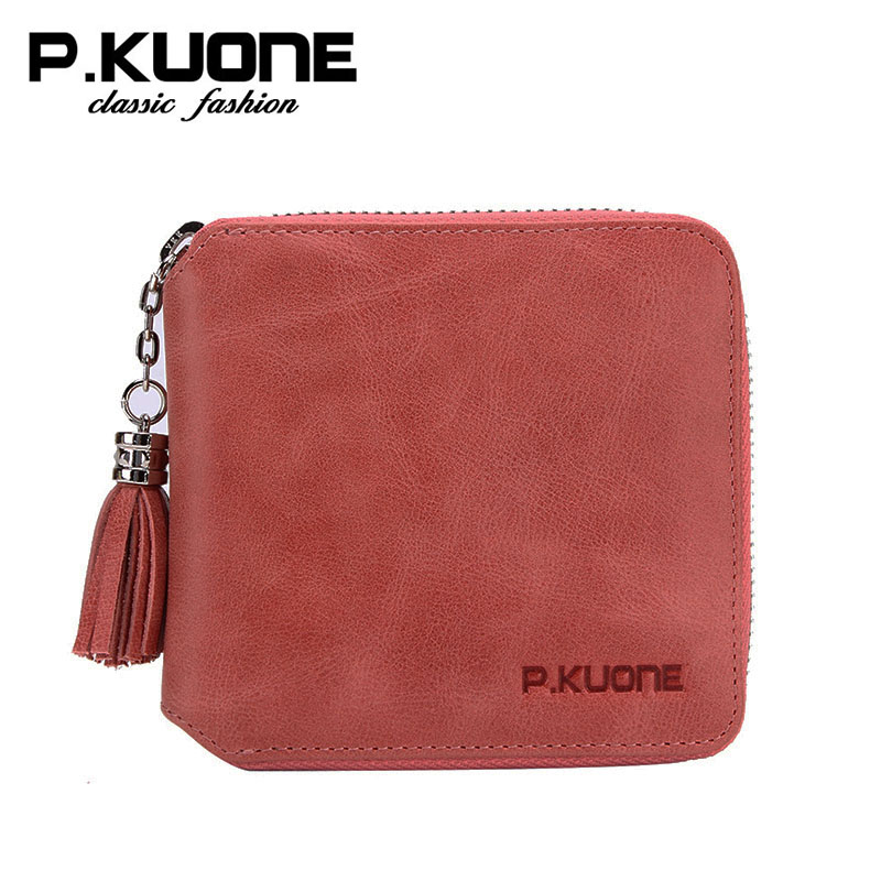 P.kuone vintage women wallets genuine leather purse brand zipper wallet small coin purse<br>