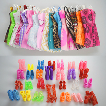 New 10 PCS Mix Sort Beautiful Party Barbie Doll Clothes Fashion Dress + 10 Pair Accessories Shoes For Barbie Doll Best Gift Toy