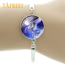 Buy TAFREE Glass Metal Charm Chain Bracelet Women Fashion Animal Unicorn Jewelry Silver Color Bracelet Hand Chain UN22 for $1.20 in AliExpress store