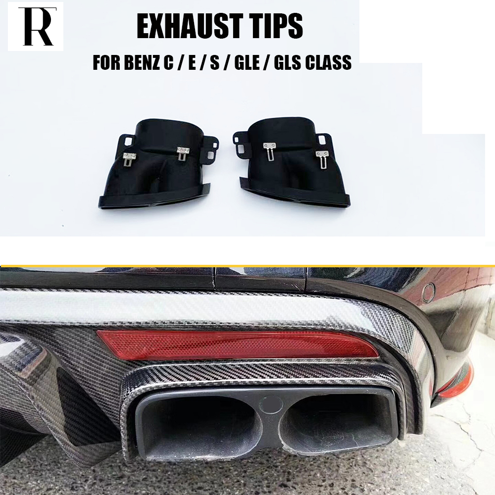 Quad Square Exhaust Pipe Tips Muffler Tips For Mercedes Benz C W205 C200 C250