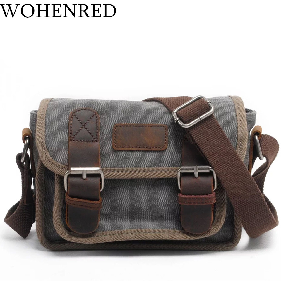 Brand Mens Messenger Bags Satchel High Quality Canvas Leather Mini Small Shoulder Bag Casual Male Carry On Travel Crossbody Bag<br>