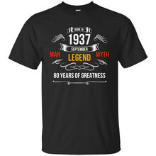 Mens 80th Birthday Gift Tshirt September 1937 For 80 Years OldChina