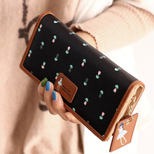 NEW Envelope Women Wallet Hit Color Flowers Printing PU Leather Wallet Zipper Long Ladies Clutch Coin Purse 6 Color
