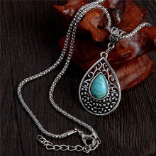 LUCKY YEAR One Piece Vintage Trendy Jewelry Women's Necklace Silver Color Water Drop Resin Necklace