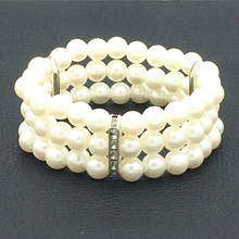 Sl050 Hot Fashion Elasticity Bracelet Simulated Pearl Multilayer Beaded Charm Wide Cuff Bracelets Bangles For Women Jewelry Gift