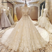Buy LS86984 luxury wedding dresses beaded crystals ball gown bridal gowns long train robe de mariage 2017 ivory real photos for $783.35 in AliExpress store