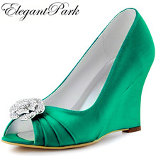 Woman Shoes Green High Heel Peep Toe Clips Wedges Satin Bridesmaids Wedding Bridal Shoes Prom Evening Pumps WP1547 pink Lavender
