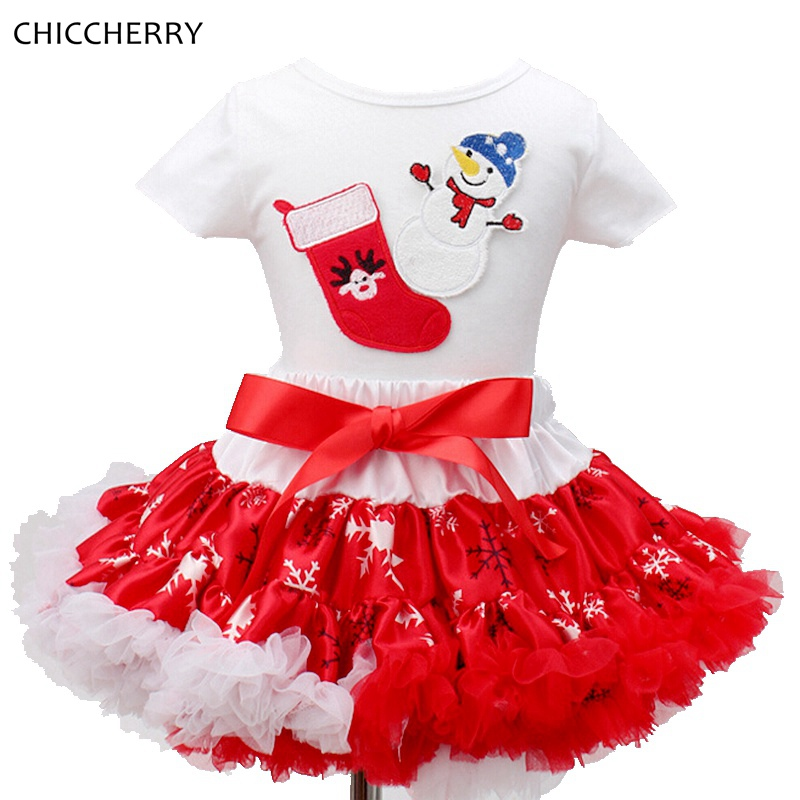 Snowman Kids Christmas Outfits Cotton Baby Infant Lace Tutu Skirt Set Top Child Dress Conjunto Infantil Menina Children Clothing<br><br>Aliexpress