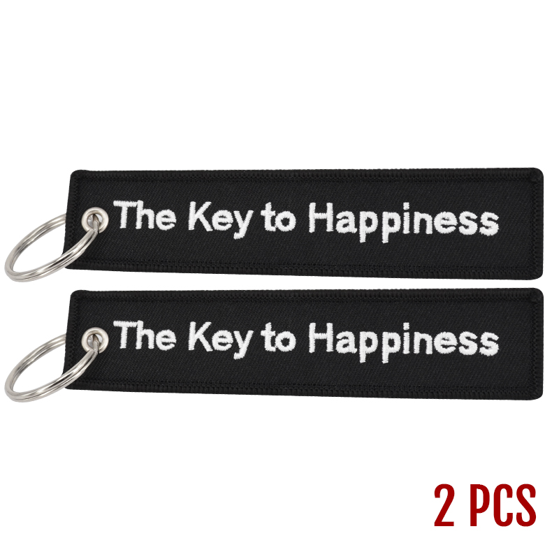 The Key to Happiness Key Chain Bijoux Keychain for Motorcycles and Cars Gifts Key Tag Embroidery Key Fobs OEM Key Ring Bijoux (3)