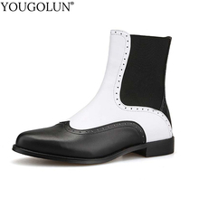 Buy YOUGOLUN Women Ankle Boots Genuine Leather 2017 New Autumn White Black Pattern Pointed toe Low Heel Square Heels Shoes #Y-143 for $47.94 in AliExpress store
