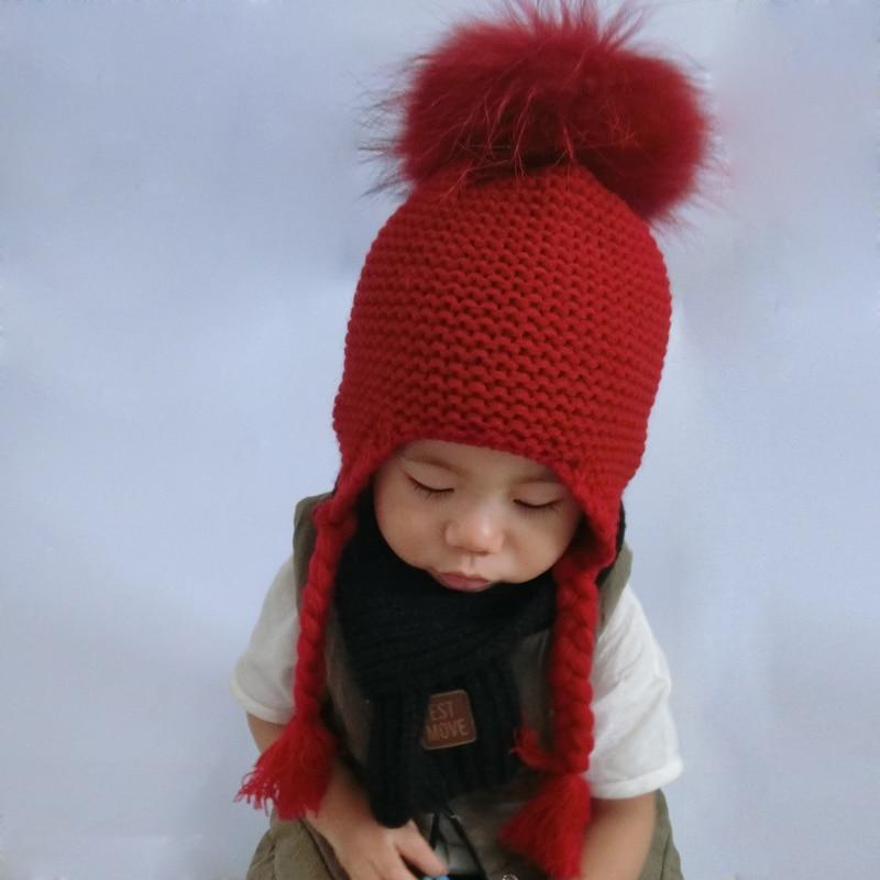 Baby Girl Winter Raccoon Fur Hats Children Knitted Wool Earflap Beanies For Boys Kids Warm Hat CapÎäåæäà è àêñåññóàðû<br><br><br>Aliexpress