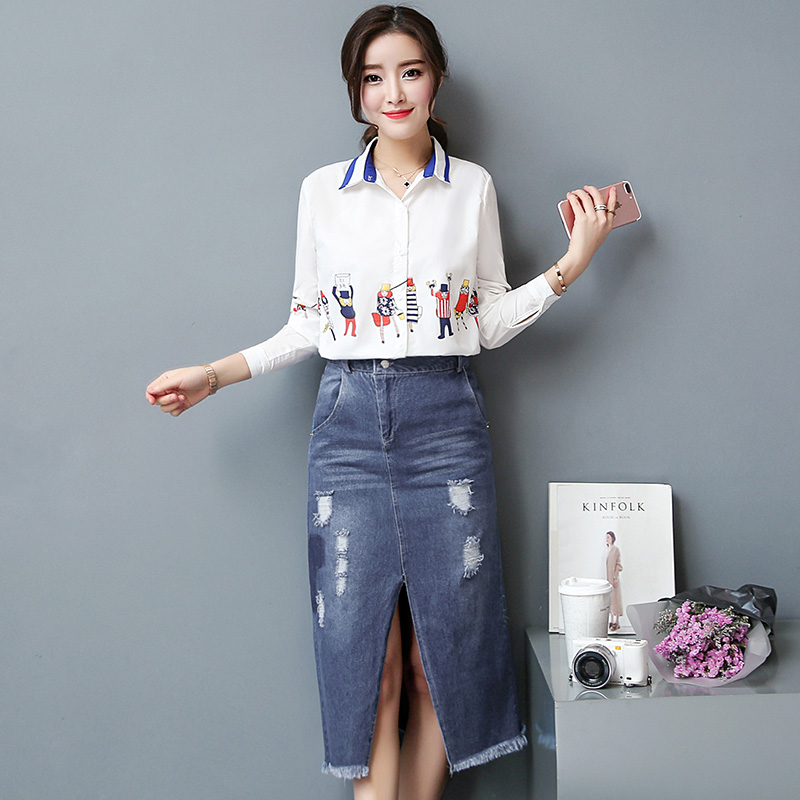 new white print shirt cowboy clothing travel buttock denim skirts Korean fashion joker two-piece suit skirt women design clothes