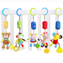 New Kids Baby Hand Bell Windbell Animal Shape Bed Car Hanging Bells Educational Infant Toys Plush Animals Doll Toy DW894330(China)