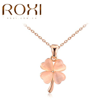 ROXI Fashion Jewelry Rose Gold Color Statement Flower Clover Opal Pendant Necklace For Women Party Wedding collier ras du cou