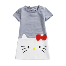 Hello Kitty Dress Baby Girl Dress Hello Kitty Printed Princess Dress Kids Baby Girl Clothes Casual Dresses Children Clothing(China)