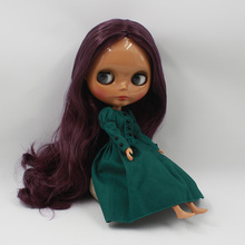 New Listing Neo Black Blyth Nude Purple Long Hair Princess Doll Dolls DIY Makeup Toys(China)