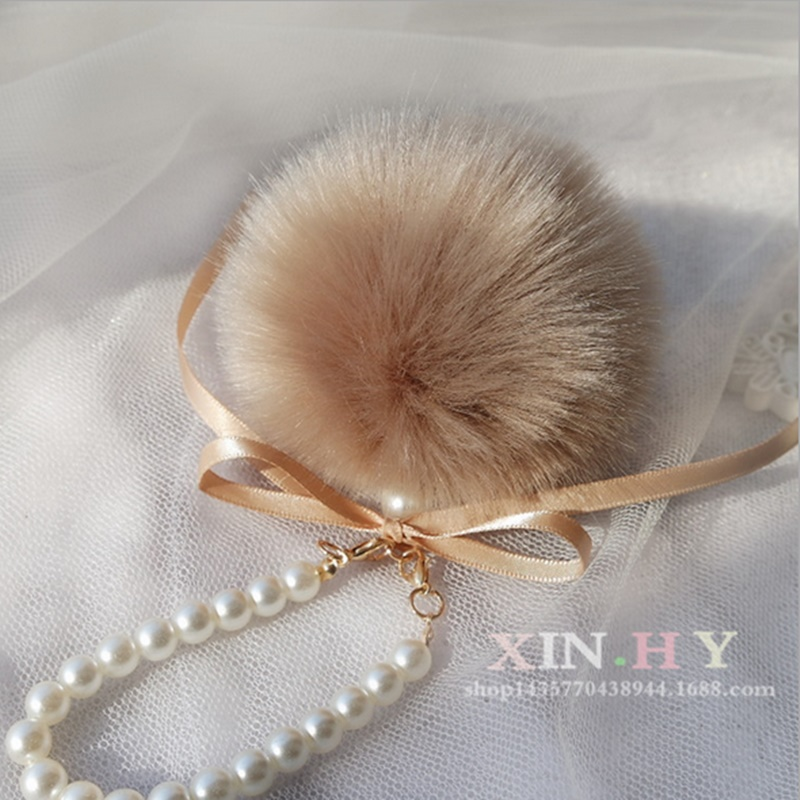 Fancy&Fantasy Pearls Pompons Keychain Rabbit Fur Ball Cell Phone Car Keychain Pendant Handbag Charm PomPom Charm Keyring ZKPPJ(China)
